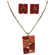 SALE Mod Geometric Plastic Pendant & Earrings Demi