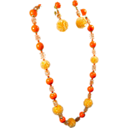 Yummy Tangerine Beaded Necklace & Earrings