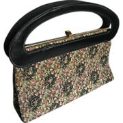 Mod Wide Handled Tapestry Handbag Purse