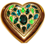 Yves Saint Laurent ~ YSL Emerald Green Crystal Heart Powder Compact ~ WOW!