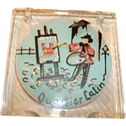 "Hand Painted Lucite ""Quartier Latin"" Paris, France Powder Compact ~ Incredible!"