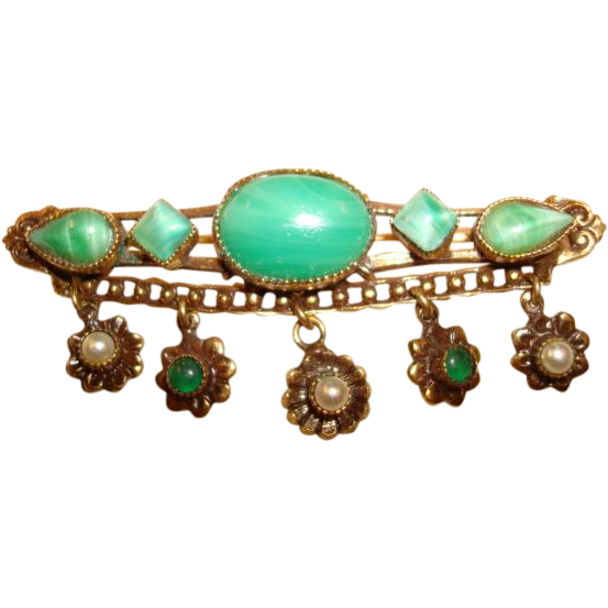 Original by Robert Bar Pin ~ Brooch ~ Green Cabochon Stones ~ Unusual!