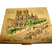 Hand Painted Notre-Dame de Paris Powder Compact ~ Artist Signed ~ Marvelous!
