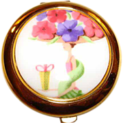 Estee Lauder Enamel &quot;Flower Show&quot; Powder Compact ~ What a Lady & What a Hat!
