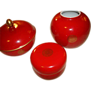Estee Lauder Porcelain Treasures of the Orient Dresser Set ~ Cinnabar ~ Wonderful Find!