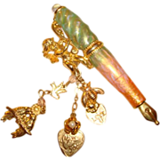 Kirks Folly Enamel & Crystal Cherub Charm Fountain Pen Pin ~ Brooch ~ Oh So Charming!