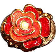 Bob Mackie Enamel & Crystal &quot;Blooming Rose&quot; Solid Perfume Compact ~ Pill Box ~ Origi