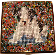 Precious Puppy Dog Petit Point Powder Compact ~ Saks Fifth Avenue ~ Adorable!