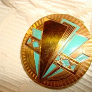 Joncaire Goldtone & Enamel Powder Compact ~ Art Moderne ~ Striking Piece!
