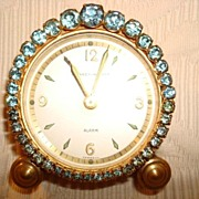 Vintage Phinney-Walker Blue Rhinestone Alarm Clock ~ Lovely!
