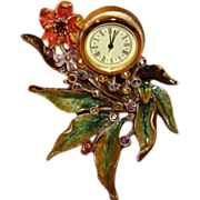 Jay Strongwater Enamel & Crystal Miniature Clock ~ Bramble Collection ~ Exquisite!