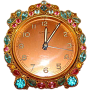 "SALE Exquisite ""Original by Robert"" Rhinestones ~ Filigree ~ Alarm Clock ~ Cyma ~ Sw"