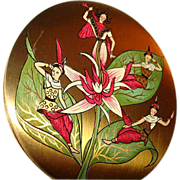 SALE Vintage Vogue Vanities Oriental Ladies ~ Siam ~ Powder Compact ~ Most Unusual!