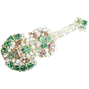 """Original by Robert"" Guitar Rhinestone Pin/Brooch"