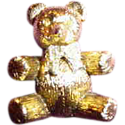 Max Factor Teddy Bear Solid Perfume Compact ~ Rhinestones!