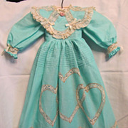 SALE Gorgeous Professionally Made Cotton Batiste Heirloom Blue Doll Dress With Val Lace & Matc
