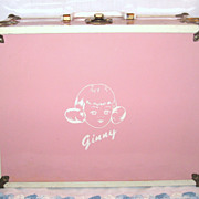 1950's Marked Vogue Ginny Pink Metal Trunk With Ginny Items