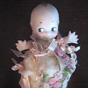 SALE VIntage Rose O'Neil 5 Inch Kewpie Dressed In Original Ribbon & Cotton Filling