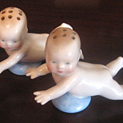 SALE Old Figural Set Of Bone China Baby Salt & Pepper Shakers