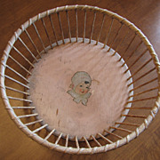 SALE Original Pink Dionne Quintuplet Painted Wooden Basket With Wood Spindles