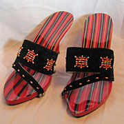 SALE Vintage Tomy Dakao-Saigon Red Black & Gold Stripped 7-8 High Heels