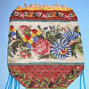 SALE Beautiful antique French floral micro beaded bag Floral tapestry design to restore
