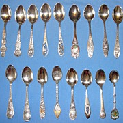 SALE Vintage Collection: 17 sterling silver U.S. cities souvenir spoons