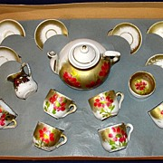 SALE Antique 16 pc hand-painted porcelain German child's tea set in original box!