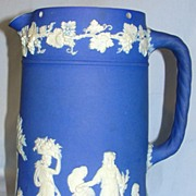 SALE Vintage English Wedgwood ceramic dark blue Jasperware pitcher