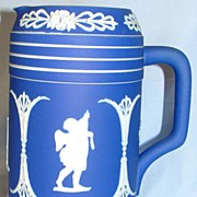 SALE Early Wedgwood dark blue Jasper ware jug / pitcher with cherubs