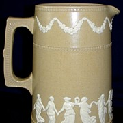 "SALE Antique Copeland Spode Stoneware light brown/tan Jasper ""Dancing Hours"" JUG"