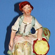 SALE Antique Staffordshire pottery figurine -  Woman with tambourine