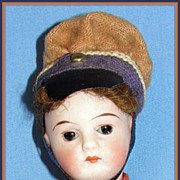 SALE All Original Antique 6&quot; German Bisque Doll Dressed as Soldier