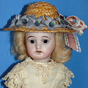 SALE Antique Max Rader Cabinet Size 7&quot; Bisque Doll w/ Antique Needle- Work Costume