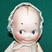 SALE Old All bisque Kewpie Doll with Bonnet & Free tiny companion