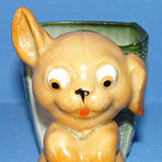 SALE Antique Fairing: Googly-eye Puppy & Basket