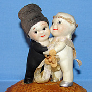 SALE All Bisque Old Kewpie Huggers Bride & Groom Cake Topper