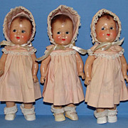 REDUCED 1930's Composition Dionne Quintuplet Dolls, Probably Effanbee
