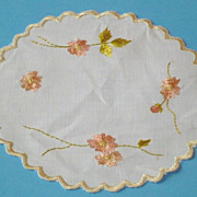 Vintage Pair Silk Society Doilies