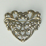 Vintage Sterling Silver Heart Brooch