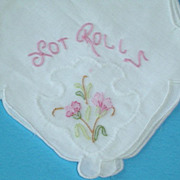 Vintage Linen Hot Roll Holder with Organdy Insert