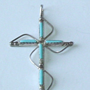 Vintage Zuni Sterling Silver Native American Petit Point Cross Pendant