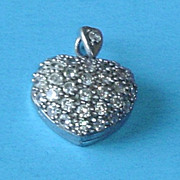 Vintage Sterling Puffy Heart with Rhinestones Locket Pendant