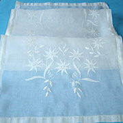 Vintage Madeira Organdy Runner with Applique Flowers