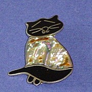 SALE Vintage Mexican Cat Brooch