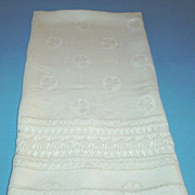 Vintage Linen Huck Bath Towel with Clover and Hand Crochet  Insert