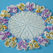 Vintage Floral Doily with Pansy Border