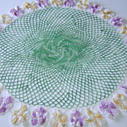 Vintage Large Flower Floral Doily with a Pansy Border