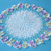 Vintage Hand Crochet Flower Floral Doily with Pansies