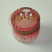 Antique Deco Moser Cranberry Dresser Jar
